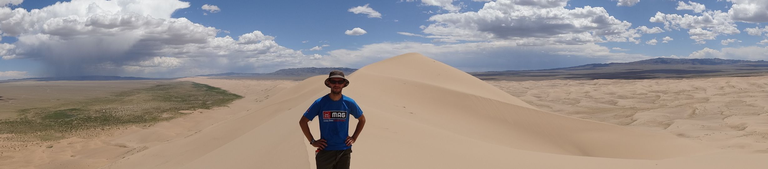 Jon on top of the tallest sand dunes in the Gobi Desert