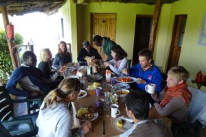 breakfast after the morning game drive and getting the car out of the mud