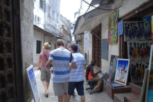 Jon, Carl and Karl seeking photo opportunities in the narrow streets of Stone Town