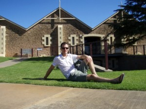 our own pin-up boy at one of the wineries