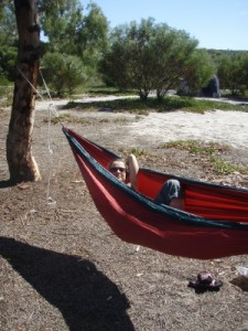 Jude in one of our comfy hammocks
