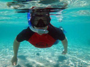 Jon snorkeling (or sinking?)