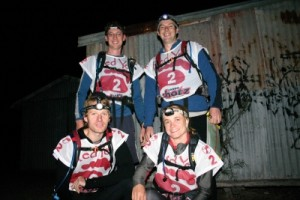 the team just before the midnight start - Pete, Muz, Marcus and Jude