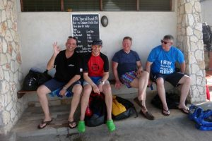 Cor, Jon, Kevin and Ryan on the bench for a pre-dive briefing