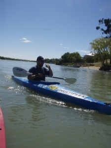 Dimi kayaking on the Murray