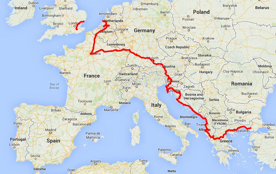 our route in Europe - click on this image for the interactive Google map