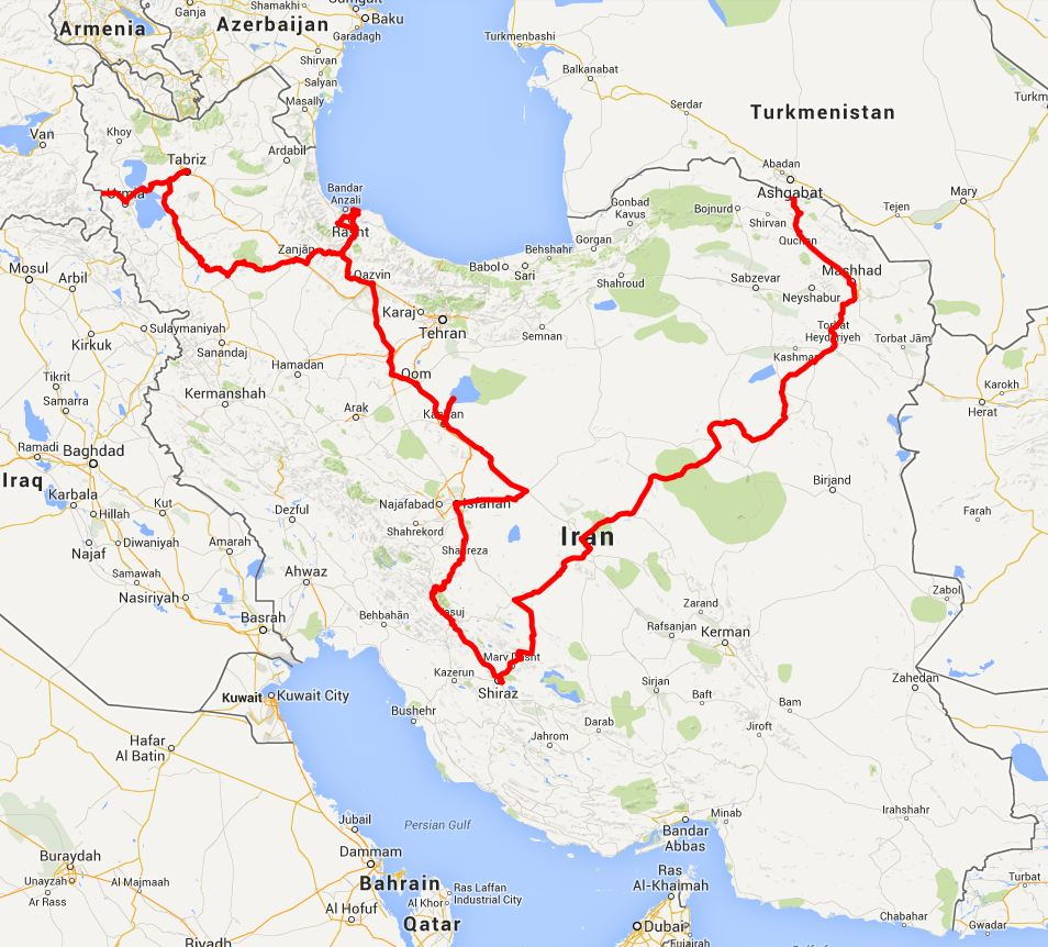 our route in Iran - click on this image for the interactive Google map