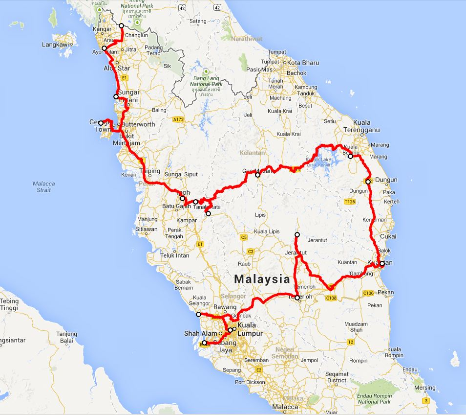 our route in Malaysia - click on this image for the interactive Google map