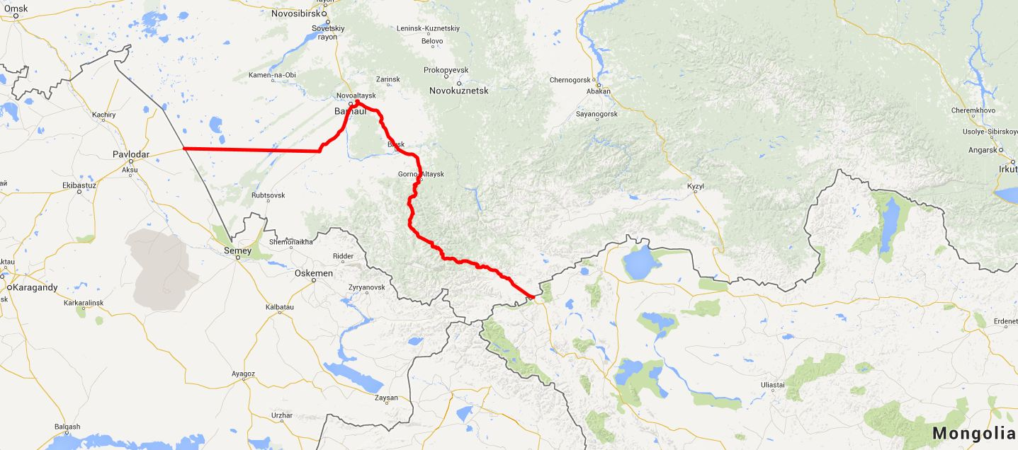 our route in the Altai Republika - click on this image for the interactive Google m