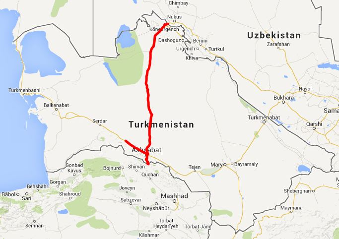 our route in Turkmenistan - click on this image for the interactive Google map