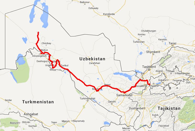our route in Uzbekistan - click on this image for the interactive Google map