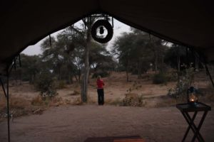 Jude overlooking the dry Mdonyo River, if you look closely you can see the elephant tracks in front of the tent