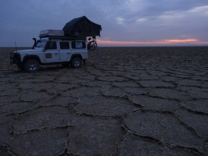 Camp in the middle of a salt lake in Iran.