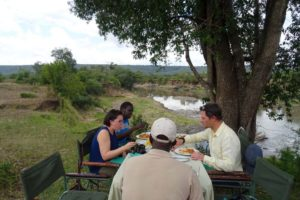 great location for lunch, right on the Mara River