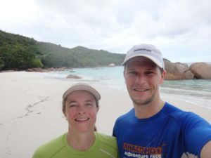 looking like tomatoes after a hot and sweaty run to Anse Lazio beach (on Praslin)