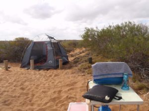 our windy campsite, we put some extra straps on the tent to keep it stable