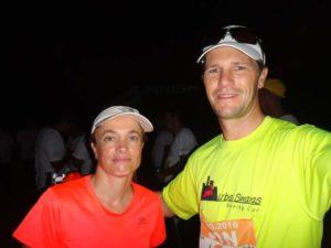 Jon and Jude at the start of the run, still dark