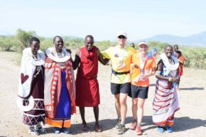Jon and Jude with some of the marshalls and other officials at the Shompole marathon