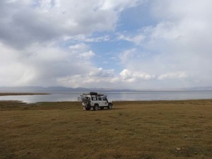 An amazing camp site on the edge of Son Kul without mozzies (pretty rare if you are near a lake in Mongolia).