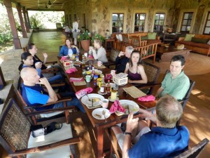 breakfast on the massive veranda of the lodge