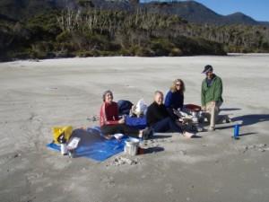 preparing for dinner on the beach