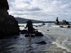 at high tide we need to go through the water around some of the headlands