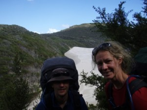 Jon and Karen about to descend to the dunes and beach