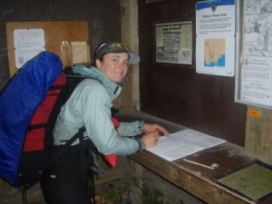 signing off at the hikers registration hut