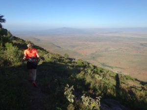 Jude at the edge of the escarpment with the Rift Valley on the right