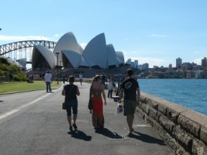 Opera House and the Sydney harbour bridge in the background