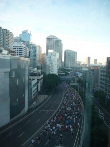 the view of the marathon from our hotel window