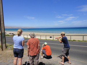 watching stage 5 in Aldinga Beach from Annie & Dick's place