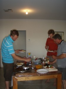 a yummy and well-deserved bbq at Mel's auntie's place in Angaston after the community ride