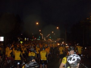 lots of riders in yellow