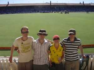 Pete, Jon, Jude and Marcus at the Australia Day cricket after the TDU