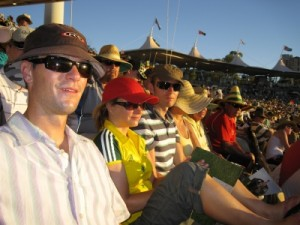 sweating whilst the sun goes down at the cricket