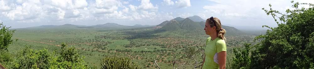 The top of Poacher's lookout provides Jude with stunning vistas over Tsavo West NP