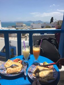 lunch in Sidi Bou Said, a suburb of Tunis at walking distance from La Marsa