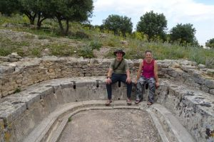 Jon and Jude in the shared toilet space in Dougga