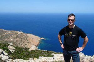 Jon at Cape Bon Peninsula, our hike takes us down to the sea