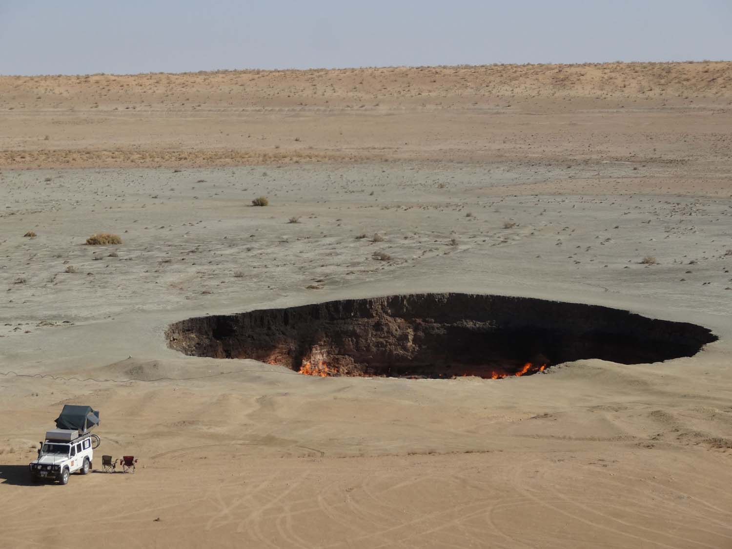 gas crater in daylight