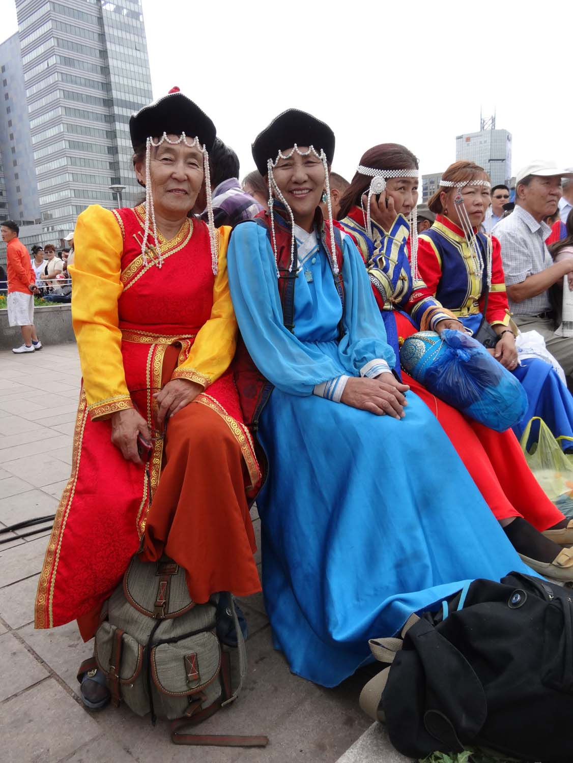 ladies wearing traditional dress in the main square of UB