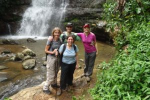 Barbara, Esther, Jon and Jude at the waterfall, there is also a pool for swimming a little further downstream