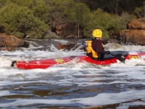 Erin surviving the rapids