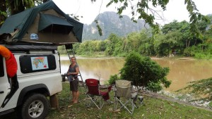 Another favourite, camping right on the water's edge in Van Vieng (Laos). Perfect for the next day's tubing trip too.