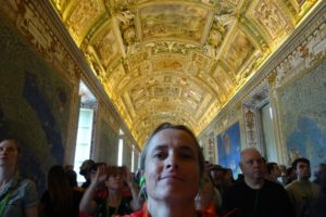 Jude in the Gallery of Maps in the Vatican Museums. The green earphones are to make sure you can hear the guide.