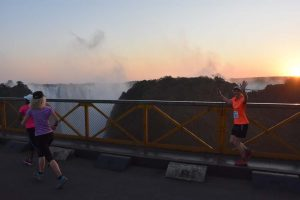 Jude and Anne-Marie crossing the bridge for the second time, now heading back into Zimbabwe for 2 loops