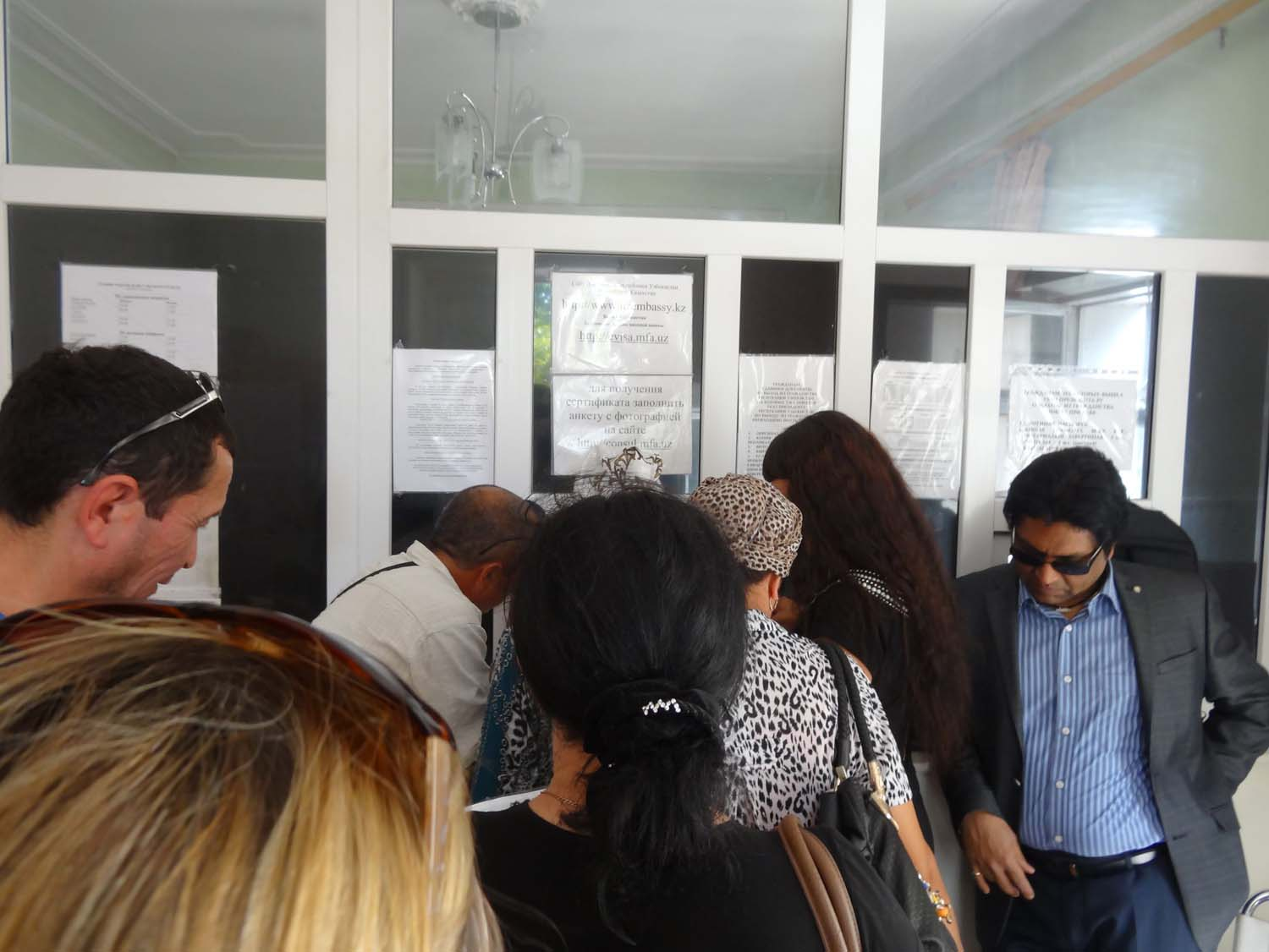 queuing in the Uzbek embassy (this is once you are finally inside)