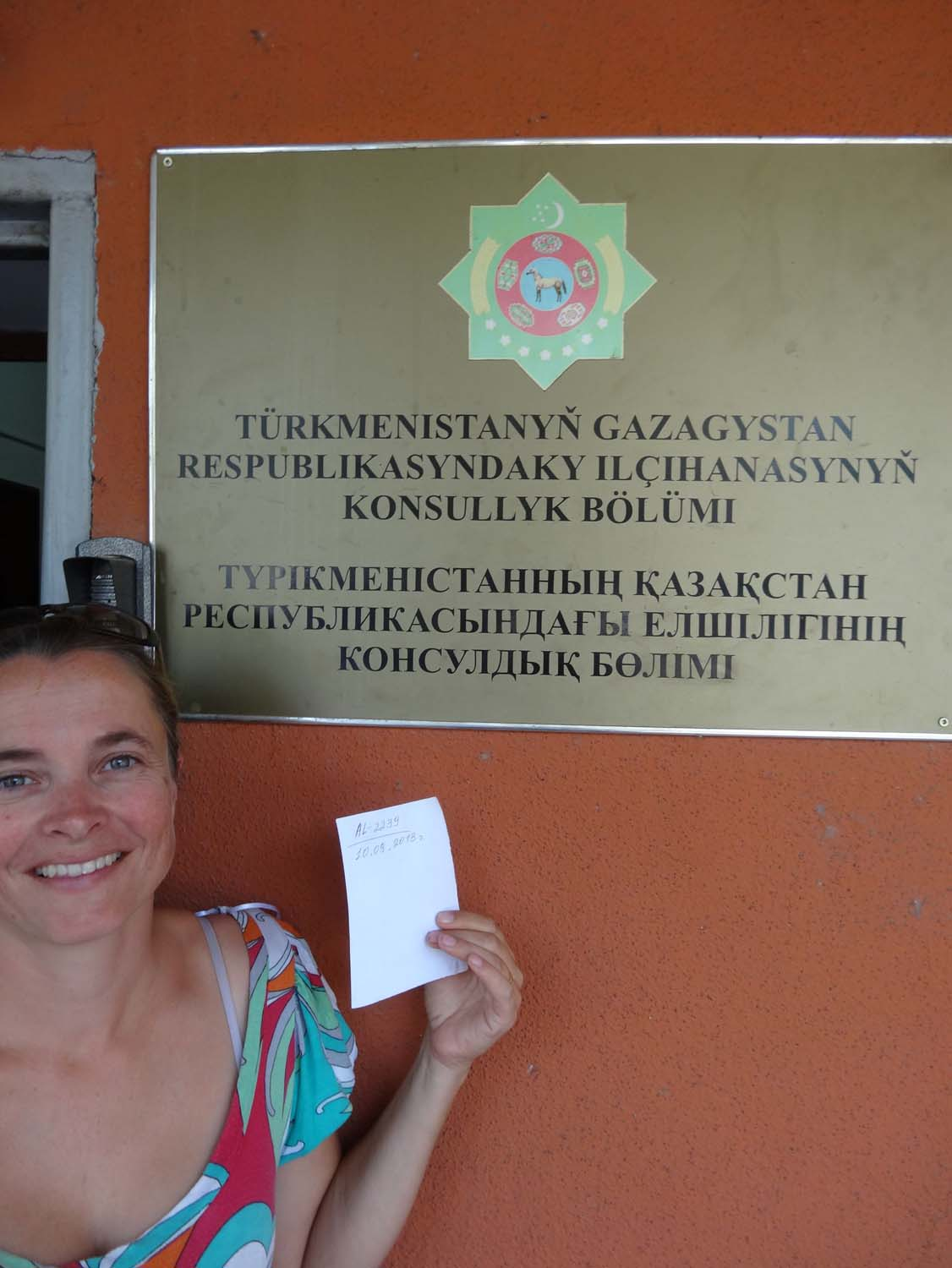 after applying for our Turkmenistan visas we get a bit of paper with a number and a date on it