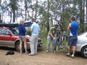 packing up after the ride